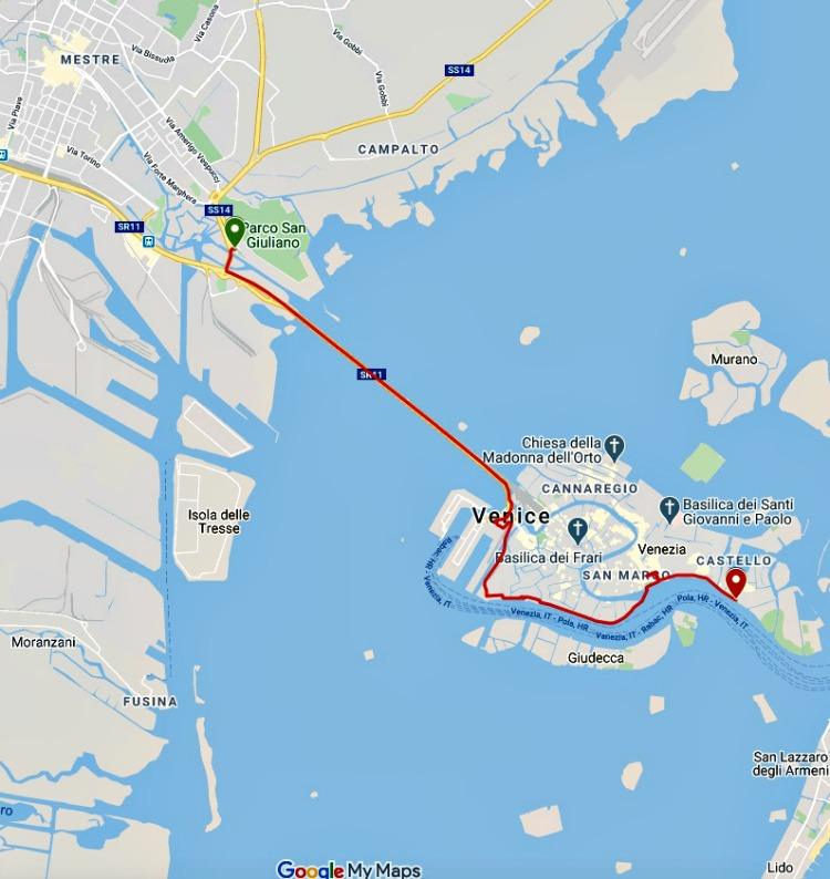 10KM route of the Venice Marathon