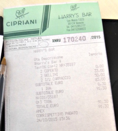 The bill of my most expensive carpaccio ever!