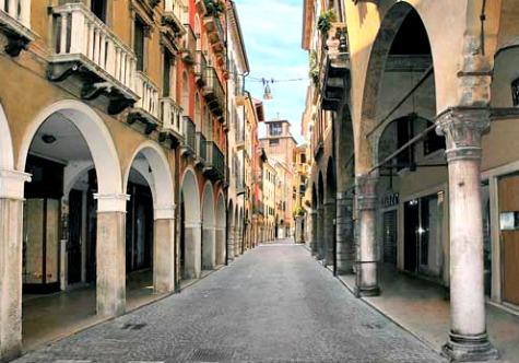 Empty Treviso Shopping street