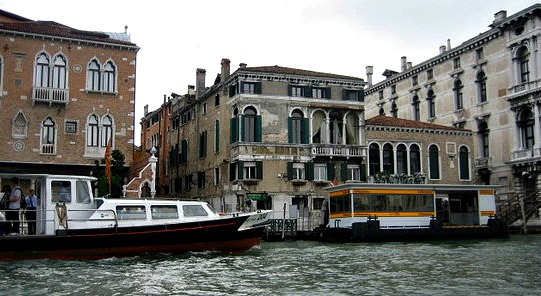 Vaporetto stop at the Grand Canal Venice Italy