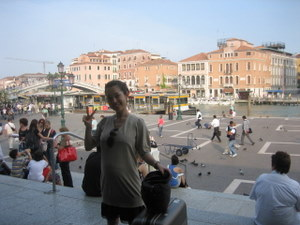 Arrive at St. Lucia Station with the train to Venice Italy